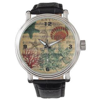 för korallseahorse för strand chic kust- snäckskal armbandsur