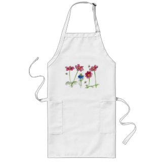 För kosmosNigella för bin rosa blommor vattenfärg Långt Förkläde
