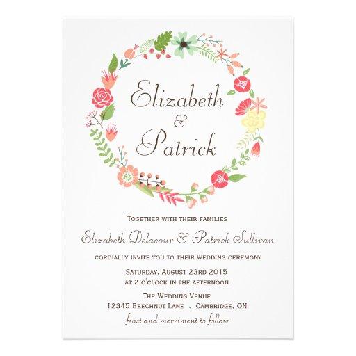 För kranbröllop för shabby chic blom- inbjudan