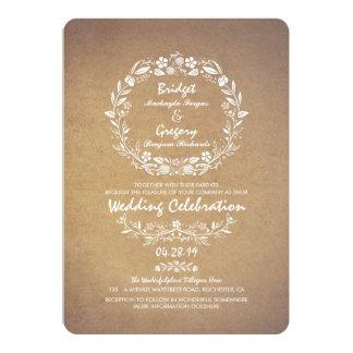 För kranelegant bröllop för vintage blom- 12,7 x 17,8 cm inbjudningskort