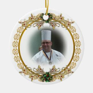För kranfoto för jul guld- prydnad, julgransprydnad keramik