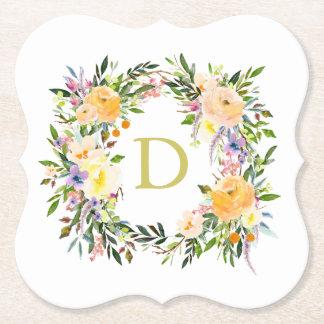 För kranMonogram för höst blom- bröllop Underlägg Papper