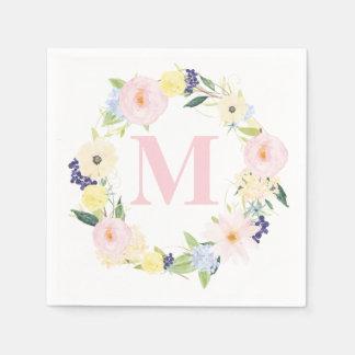 För kranMonogram för vår blom- servetter för