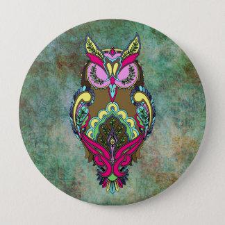 För krickafärgläggning för färgrik uggla rosa bok stor knapp rund 10.2 cm