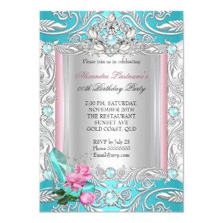 För krickarosa ros för Princess födelsedagsfest 12,7 X 17,8 Cm Inbjudningskort