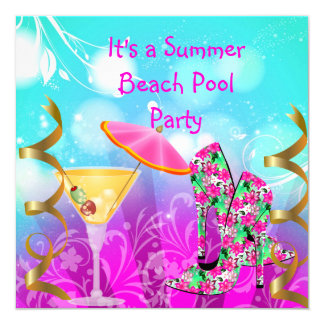 För krickastrand för sommar rosa party för bassäng fyrkantigt 13,3 cm inbjudningskort