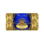 För kronababy shower för kungliga blått damastast adressetikett