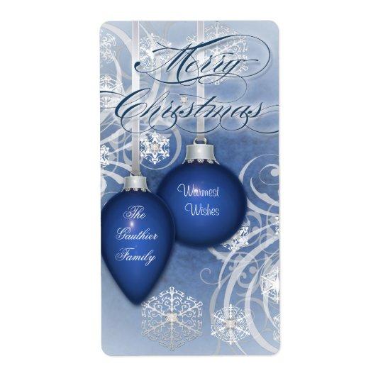 För krusidullhelgdag för blått frostad etikett för fraktsedel