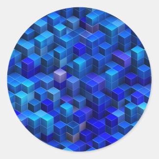 För kubabstrakt för blått 3D geometriskt mönster Runt Klistermärke