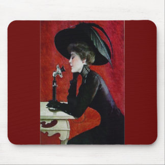 för kvinnasvart för vintage mobil dam för hatt för musmatta