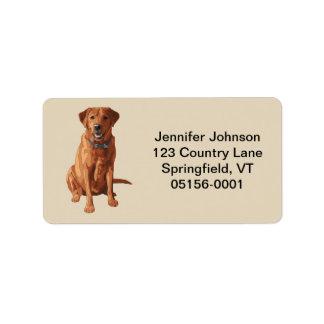 För Labrador för räv röd gul hund Retriever Adressetikett