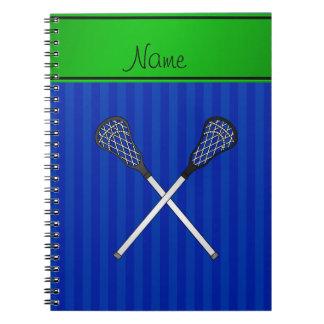 För lacrossepinnar för personlig kända randar för anteckningsbok med spiral