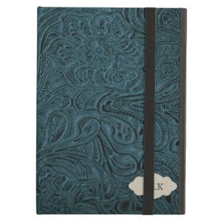 För läderLook för kricka blått bearbetad personlig iPad Air Skal