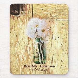 för landdaisy för lantlig ladugård wood bröllop mus matta