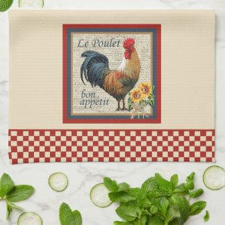 För landkök för blått fransk tupp kökshandduk