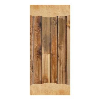 För landsbyggsbröllopprogram för Wood Parchment la Reklamkort