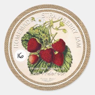 För lantlig etikett för klistermärke jordgubbesylt