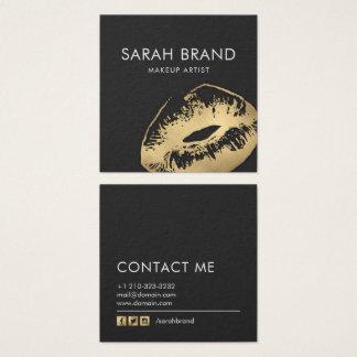 För läpparMakeup för Faux guld- salong för skönhet Fyrkantigt Visitkort