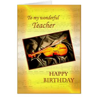 För lärare ett musikaliskt födelsedagkort med en hälsningskort