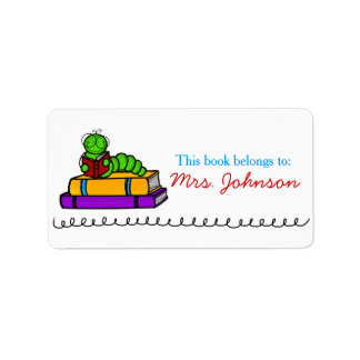 För lärarebok för bokmal gulliga etiketter adressetikett