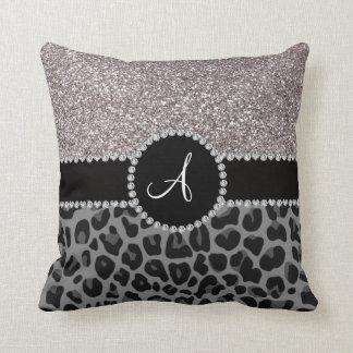 För leopardsilver för Monogram svart glitter Kuddar