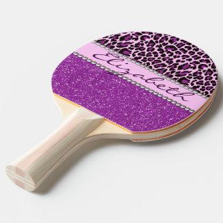 För Leopardtryck för personlig purpurfärgat Pingisracket