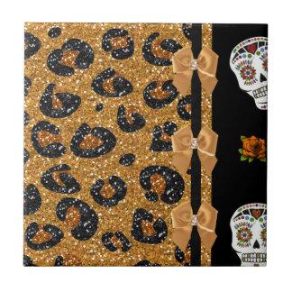 För Leopardtryck för RAB Rockabilly guld- döskalla Liten Kakelplatta