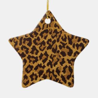 För Leopardtryck för RAB Rockabilly guld för brunt Stjärnformad Julgransprydnad I Keramik