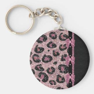 För Leopardtryck för RAB Rockabilly rosa pilbågar  Rund Nyckelring