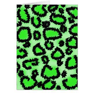 För Leopardtryck för svart och för limefrukt grön Hälsningskort