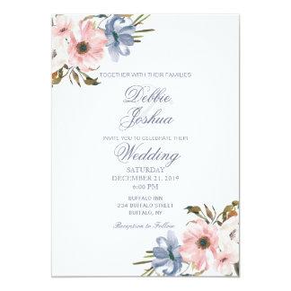 För lilablomma för pastellfärgade blått rosa 12,7 x 17,8 cm inbjudningskort