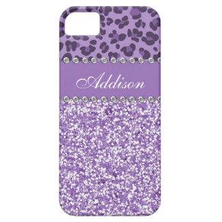 För lilaglitterLeopard för tryck för Rhinestone iPhone 5 Cover