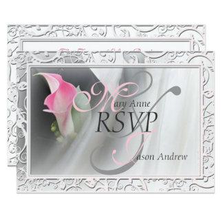 För liljakrusidull för rosa Calla bröllop OSA för 8,9 X 12,7 Cm Inbjudningskort