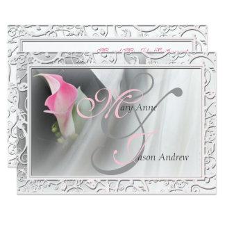 För liljakrusidull för rosa Calla inbjudan för