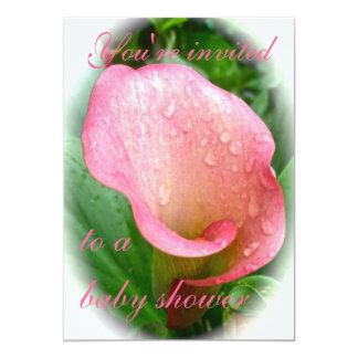 För liljaSpathe för rosa Calla inbjudan baby