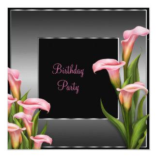 För liljasvart för rosa Calla födelsedagsfest Fyrkantigt 13,3 Cm Inbjudningskort