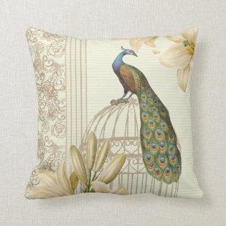 för liljavintage för art nouveau fransk påfågel kudde