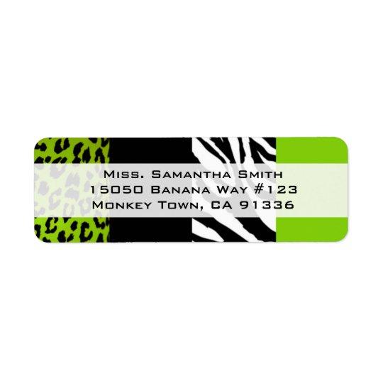 För limefrukt grön för Leopard och djur tryckretur Returadress Etikett