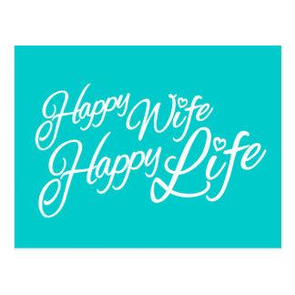 För livcitationstecken för lycklig fru lycklig vykort