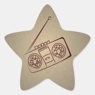 För ljudsignalkassett för vintage Retro spelare. Stjärnformat Klistermärke