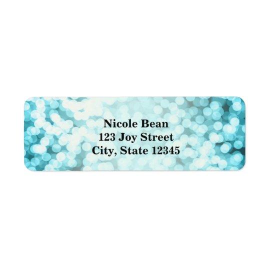 För ljusglamour för blått Sparkling Returadress Etikett