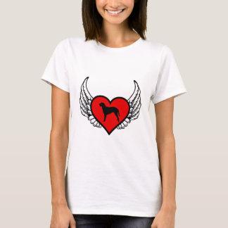 För lockig bestruken bevingad hjärta Retrieverhund T Shirts