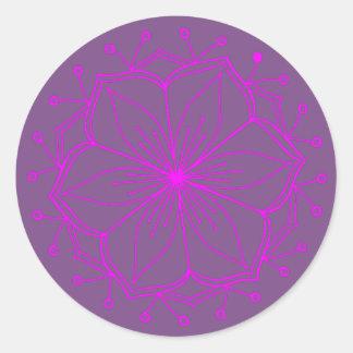 För lotusblommablomma för blåbär rosa Mandala Runt Klistermärke