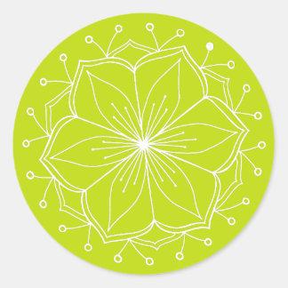 För lotusblommablomma för limefrukt grön Mandala Runt Klistermärke