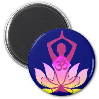 För lotusblommablomma för OM Namaste andlig Yoga Magnet Rund 5.7 Cm