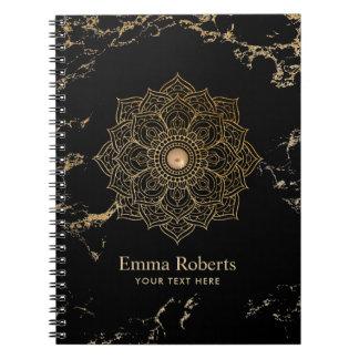 För lotusblommaMandala för Yoga guld- marmor för Anteckningsbok