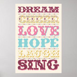 För Love/hopp för inspireras ord Dream/affisch Poster