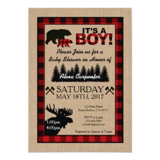 För Lumberjack för jägarebaby shower lite inbjudan