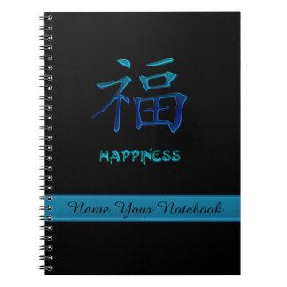 För lyckasymbol för personlig kinesisk anteckningsbok med spiral