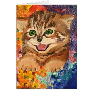 För lycklig kattunge lite - hälsningkort hälsningskort
